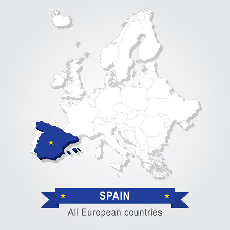administrative: Spain. Europe administrative map.
