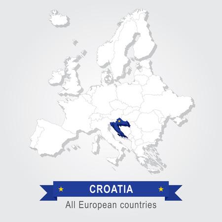 administrative: Croatia. Europe administrative map. Illustration