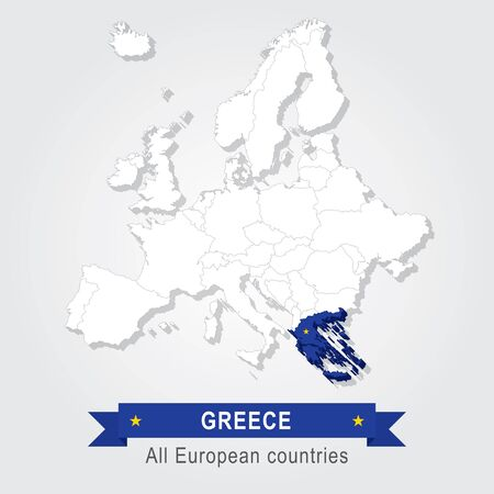 administrative: Greece. Europe administrative map.