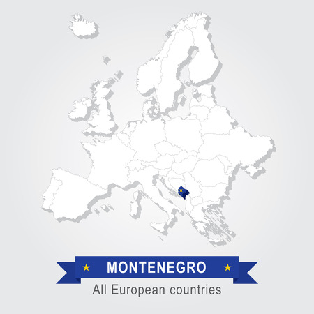 montenegro: Montenegro. Europe administrative map. country in continent Illustration