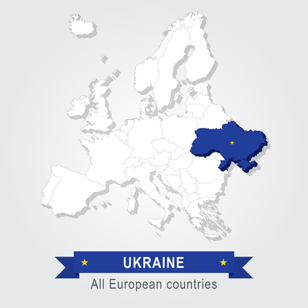 administrative: Ukraine. Europe administrative map. Illustration