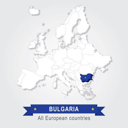 administrative: Bulgaria. Europe administrative map. Illustration