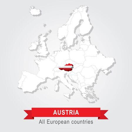 Austria. Europa mappa amministrativa. Versione bandiera.