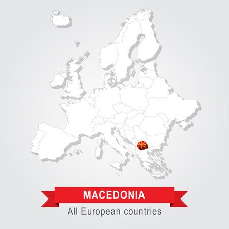 sovereignty: Macedonia. Europe administrative map. Flag version Illustration