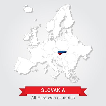 slovakia: Slovakia. Europe administrative map. Flag version. Illustration