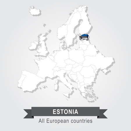 estonia: Estonia. Europe administrative map.