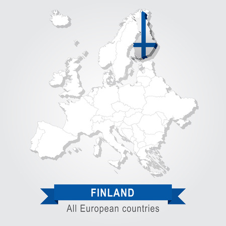 Finland. Europe administrative map. Illustration
