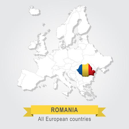 sovereignty: Romania. Europe administrative map.