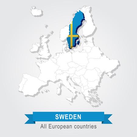administrative: Sweden. Europe administrative map. Illustration