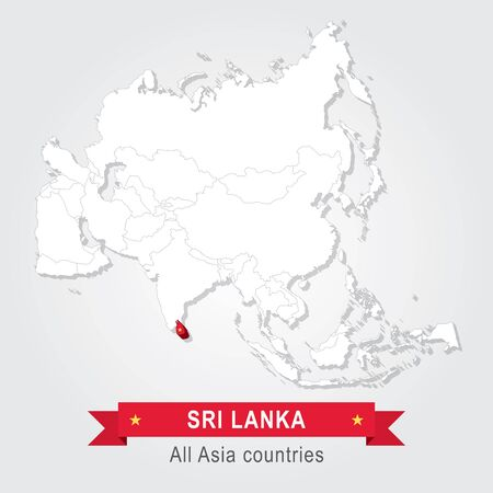 sri lanka: Sri Lanka. All the countries of Asia. Red version