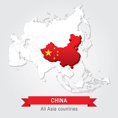 china business: China. All the countries of Asia. Flag version Illustration