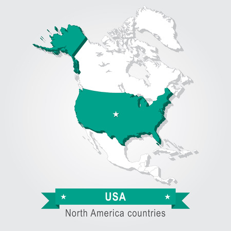 north america: USA. All the countries of North America. Green version Illustration