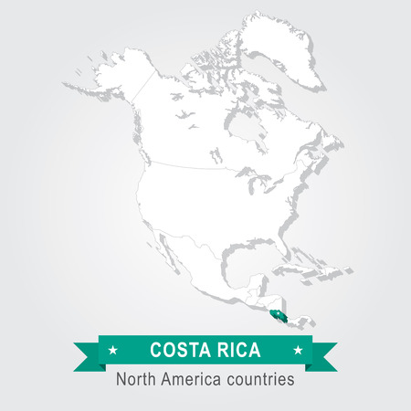 Costa Rica. All the countries of North America. Green version Illustration
