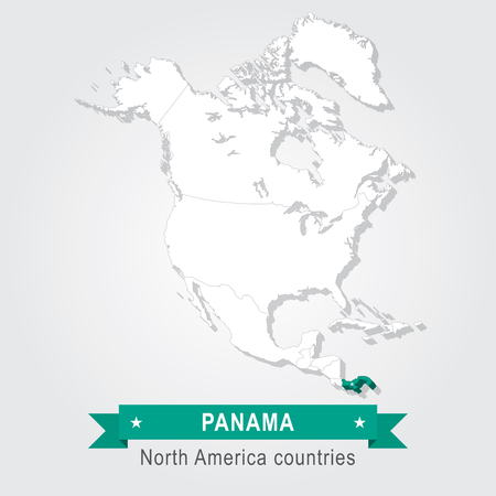 north america: Panama. All the countries of North America. Green version Illustration