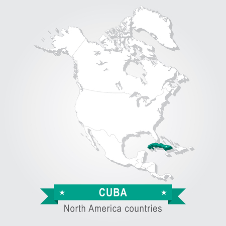 Cuba. All the countries of North America. Green version Illustration