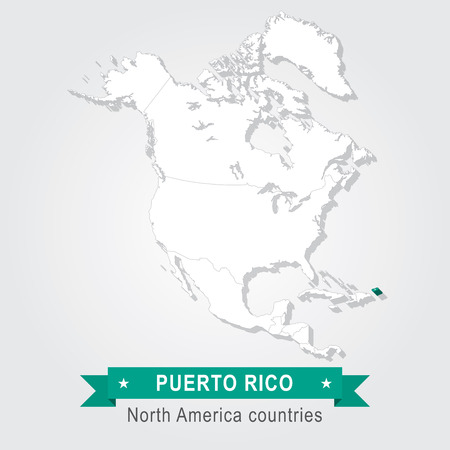 north america: Puerto Rico. All the countries of North America. Green version