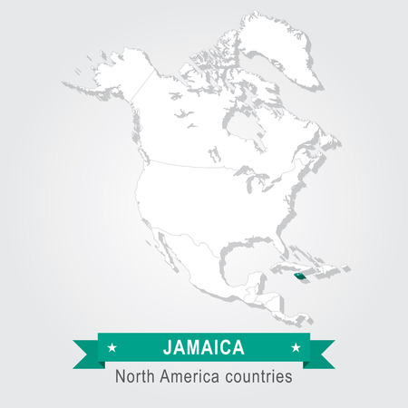 north america: Jamaica. All the countries of North America. Green version Illustration