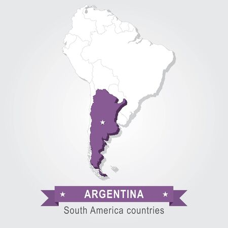 south america: Argentina. All the countries of South America. Violet version Illustration