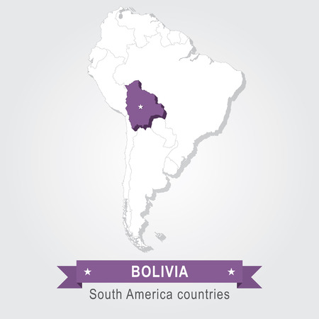 south america: Bolivia. All the countries of South America. Violet version