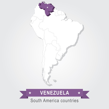 south america: Venezuela. All the countries of South America. Violet version Illustration