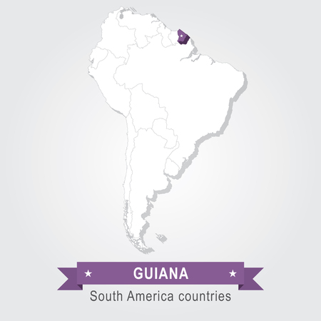 south america: Guiana. All the countries of South America. Violet version