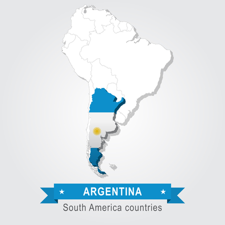 south america: Argentina. All the countries of South America. Flag version