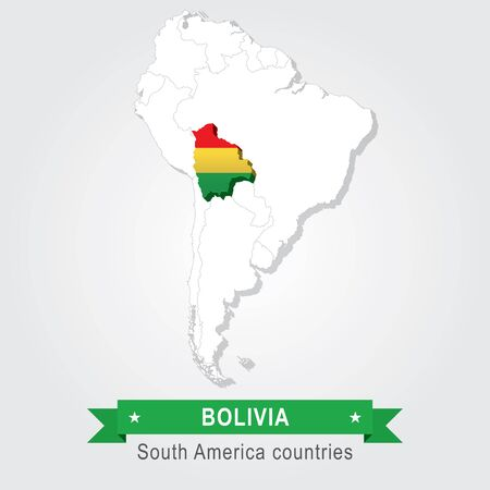 south america: Bolivia. All the countries of South America. Flag version