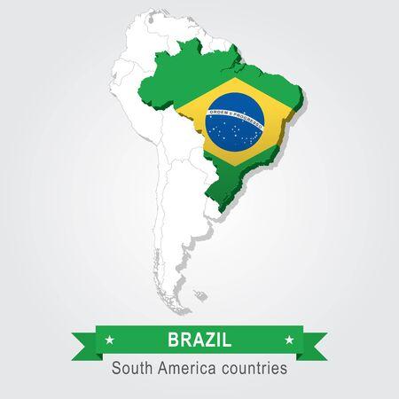 Brazilië. Alle landen van Zuid-Amerika. Vlag versie Vector Illustratie