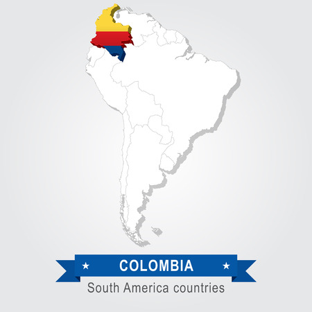 south america: Colombia. All the countries of South America. Flag version