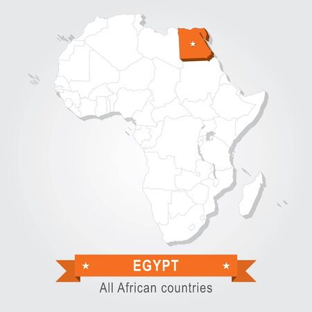 equator: Egypt. All the countries of Africa. Orange version Illustration