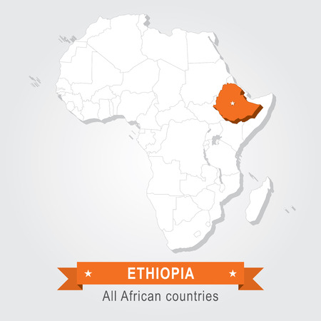 ethiopia abstract: Ethiopia. All the countries of Africa. Orange version