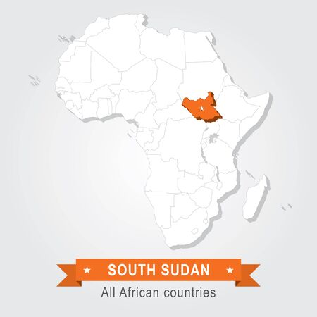south sudan: South Sudan. All the countries of Africa. Orange version Illustration