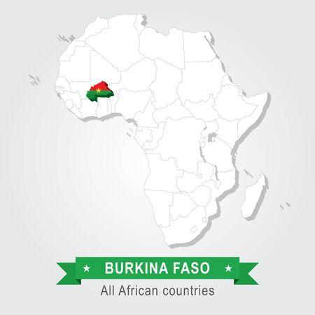 burkina faso: Burkina Faso. All the countries of Africa. Flag version