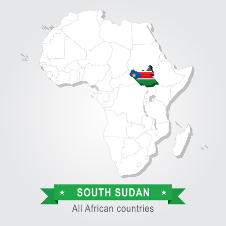 south sudan: South Sudan. All the countries of Africa. Flag version