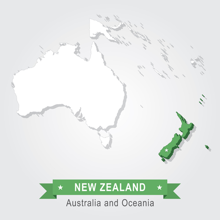 oceania: New Zealand. Australia and Oceania map. Green version