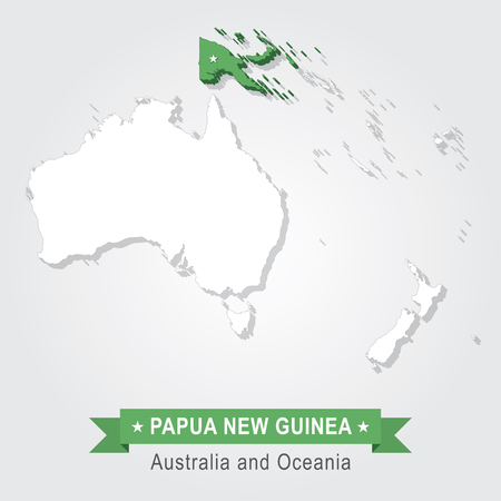 oceania: Papua New Guinea. Australia and Oceania map. Green version