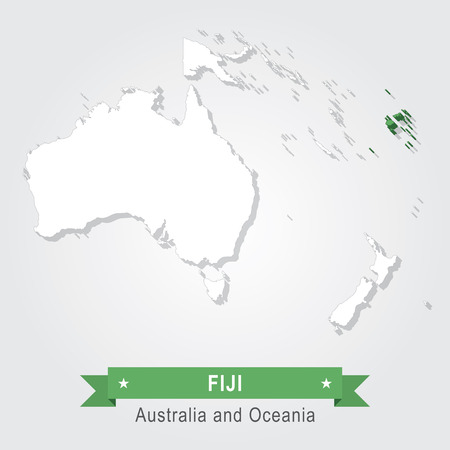 oceania: Fiji. Australia and Oceania map. Green version
