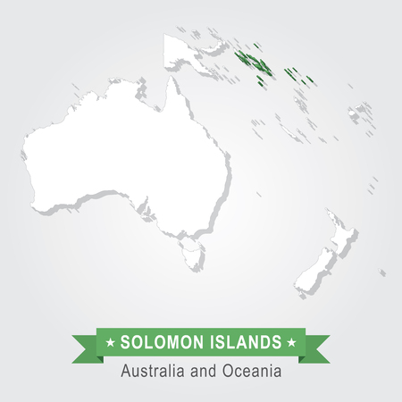 oceania: Solomon Islands. Australia and Oceania map. Green version