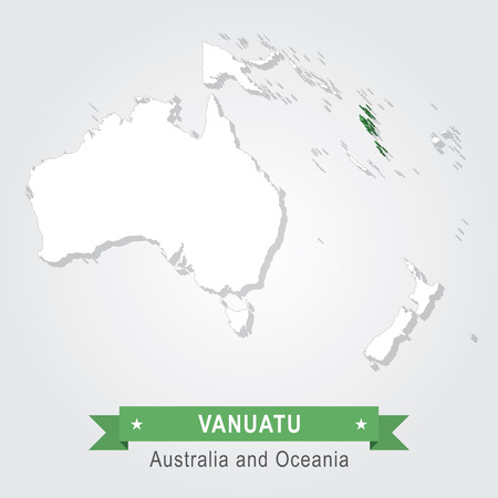 oceania: Vanuatu. Australia and Oceania map. Green version