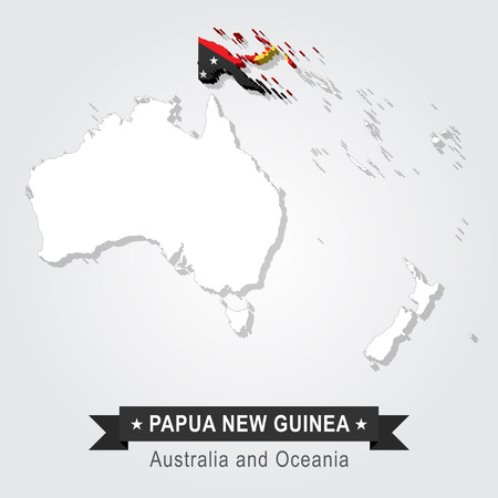 oceania: Papua New Guinea. Australia and Oceania map. Flag version