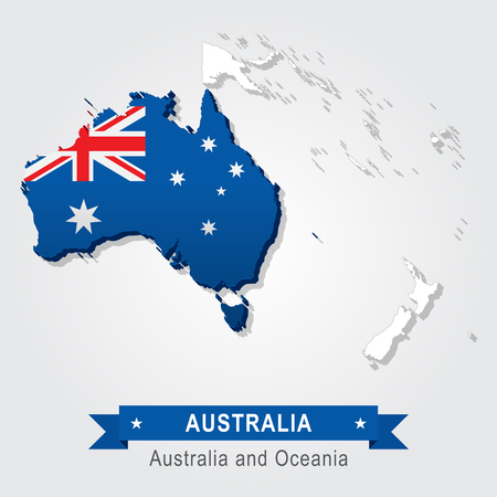 oceania: Australia. Australia and Oceania map. Flag version Illustration