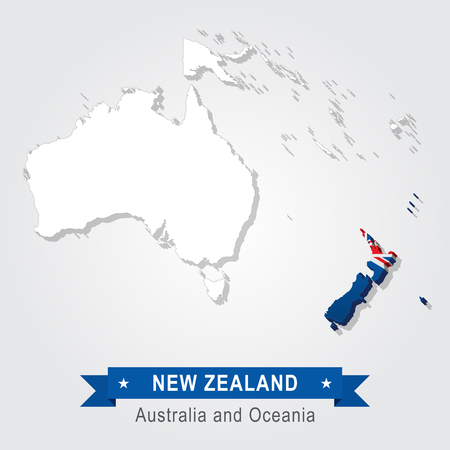 oceania: New Zealand. Australia and Oceania map. Flag version Illustration