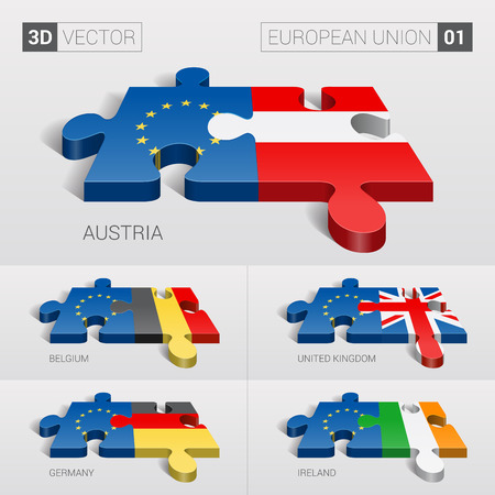 01: European Union and Austria, Belgium, United Kingdom, Germany, Ireland Flag. 3d vector puzzle. Set 01.
