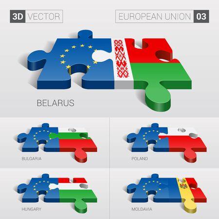 03: European Union and Belarus, Bulgaria, Poland, Hungary, Moldavia Flag. 3d vector puzzle. Set 03.