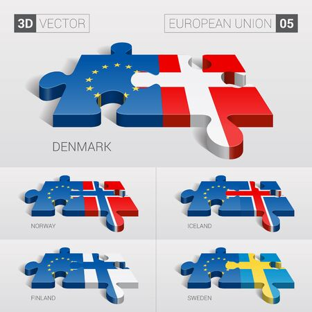 puzzle set: European Union and Denmark, Iceland, Norway, Finland, Sweden Flag. 3d vector puzzle. Set 05. Illustration