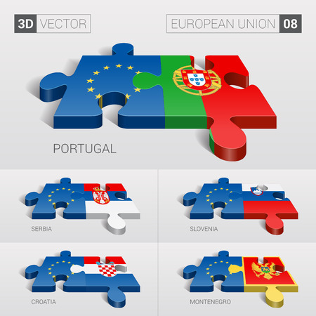 serbia and montenegro: European Union and Portugal, Serbia, Slovenia, Croatia, Montenegro Flag. 3d vector puzzle. Set 08.