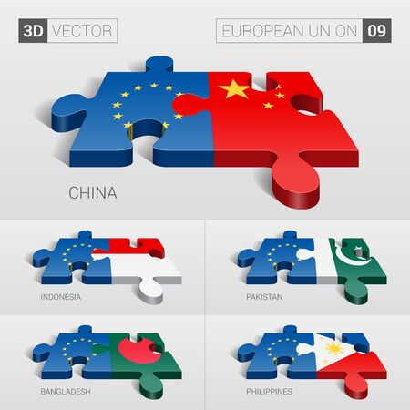 puzzle set: European Union and China, Indonesia, Pakistan, Bangladesh, Philippines Flag. 3d vector puzzle. Set 09.