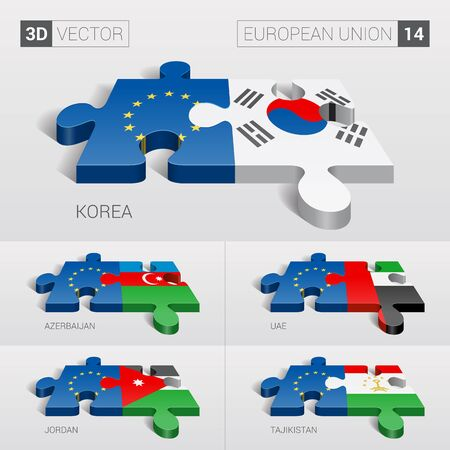 business travel: European Union and Korea, Azerbaijan, UAE, Jordan, Tajikistan Flag. 3d vector puzzle. Set 14.