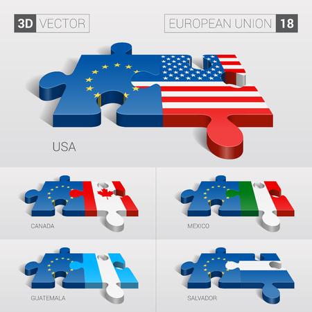 flags usa: European Union and USA, Canada, Mexico, Guatemala, Salvador Flag. 3d vector puzzle. Set 18.