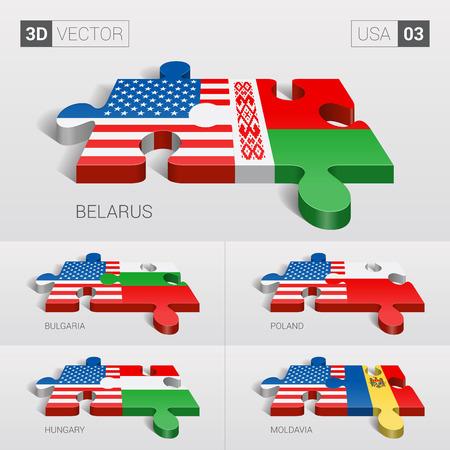 03: USA and Belarus, Bulgaria, Poland, Hungary, Moldavia Flag. 3d vector puzzle. Set 03.